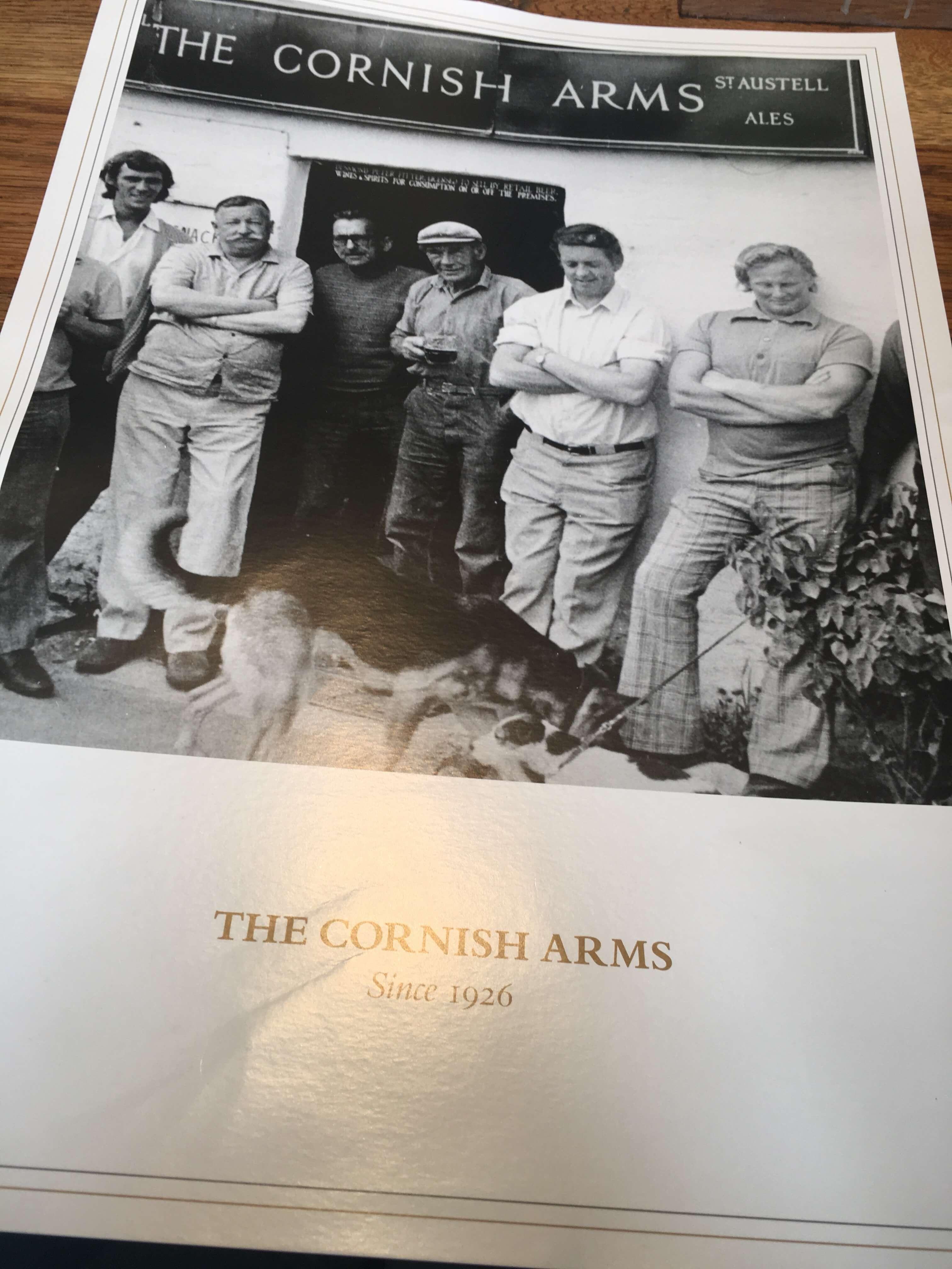 The Cornish Arms menu