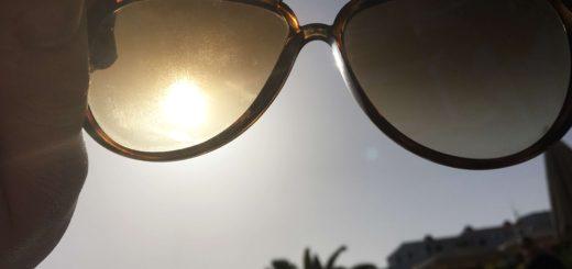 View of Tenerife through sunglasses