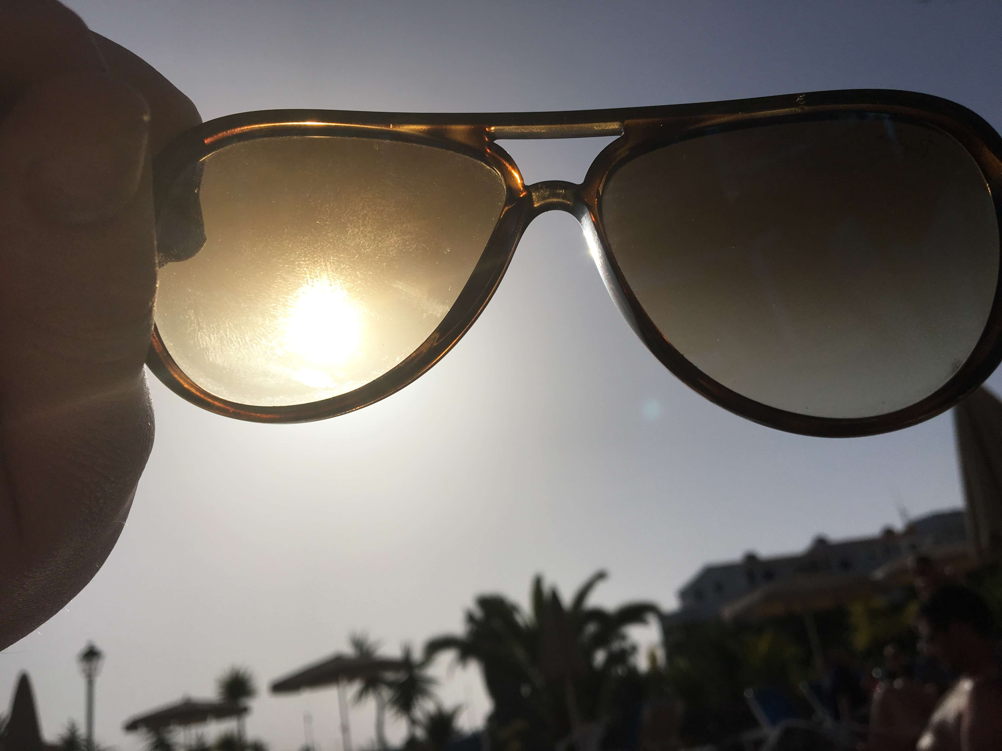 View of Tenerife through sunglasses