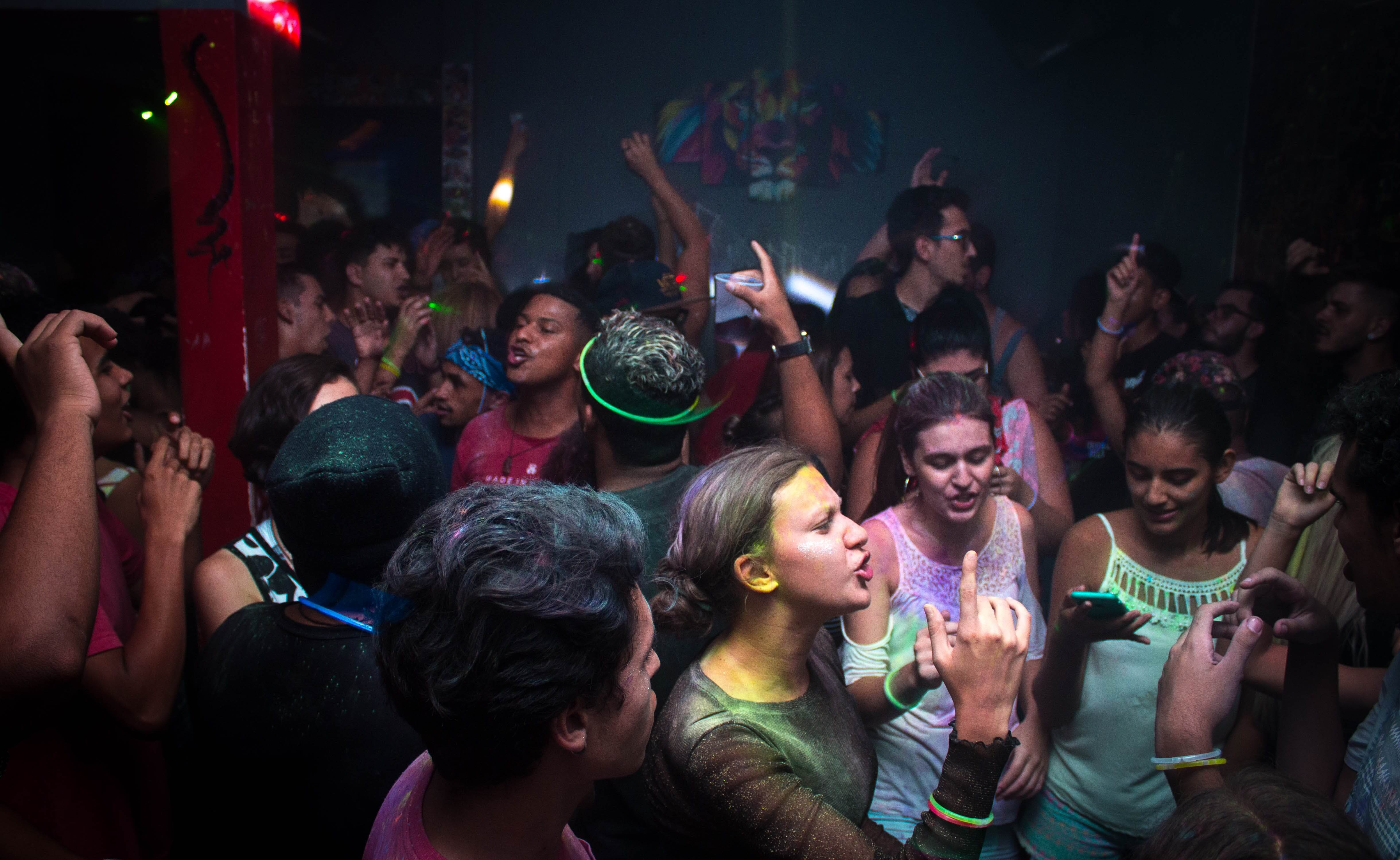 Crowd in a club partying
